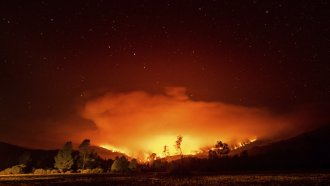August Complex Fire burns near Lake Pillsbury in the Mendocino National Forest, Calif.