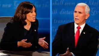 Vice President Mike Pence and Sen. Kamala Harris speak at the vice presidential debate, Oct. 7, 2020, in Salt Lake City, UT.
