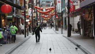 People walk at China Town in Yokohama, near Tokyo.