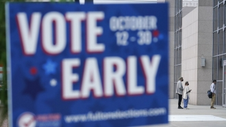 A voting sign in Atlanta