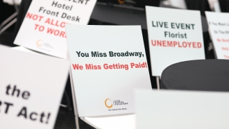 "Sign at Times Square says ""You Miss Broadway, We Miss Getting Paid!"""