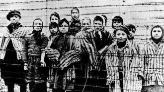 A group of children at Auschwitz in 1945