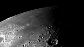 This view of the north polar region of the Moon was obtained by NASA's Galileo camera during the spacecraft flyby.