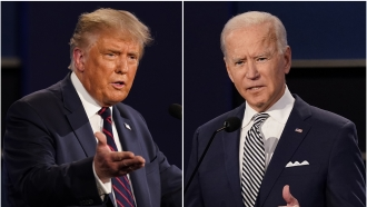 Donald Trump and Joe Biden at the first debate