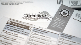 An official mail-in ballot from Marple Township, Pa