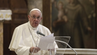 Pope Francis attends a inter-religious ceremony for peace.