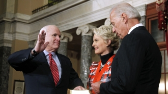 Then-Vice President Joe Biden Conducts a Swearing-in Ceremony for the late Sen. John McCain with his wife, Cindy, in 2011
