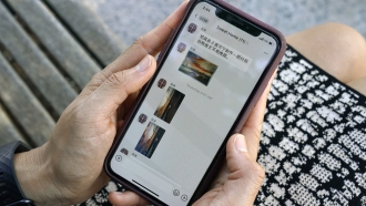 The app WeChat on a phone.