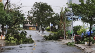 Broken tree branches caused by strong winds from typhoon Molave lie on a deserted street in Da Nang, Vietnam Wednesday