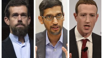 Twitter CEO Jack Dorsey, Google CEO Sundar Pichai and Facebook CEO Mark Zuckerberg