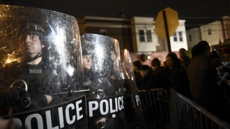 Philadelphia police officers form a line during a demonstration