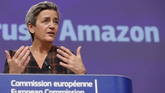 European Executive Vice-President Margrethe Vestager speaks during a press conference regarding an antitrust case with Amazon