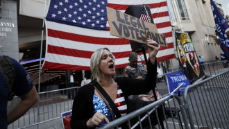 Pennsylvania woman protests late vote counting