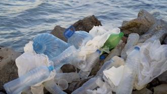 Plastic waste on beach