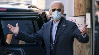 President-elect Joe Biden speaks to reporters as he leaves The Queen theater, Wednesday, Nov. 18, 2020, in Wilmington, DE.