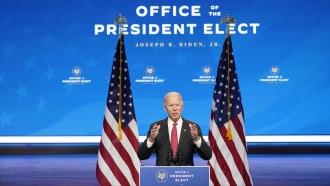 President-elect Joe Biden behind a podium