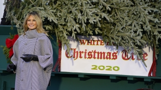 First lady Melania Trump stands next to the 2020 official White House Christmas tree after it arrived at the White House.