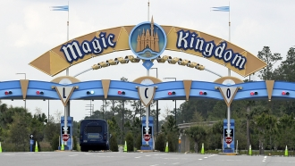 The entrance to the parking lot at the Magic Kingdom at Walt Disney World in Florida
