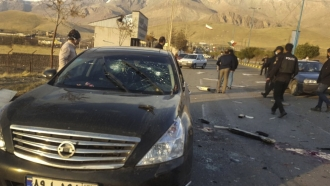 The scene where Mohsen Fakhrizadeh was killed in Absard, a small city just east of the capital, Tehran, Iran.