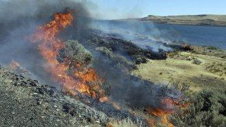 A wildfire consumes sagebrush in Washington.