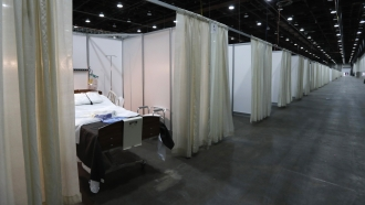 A bed at a Detroit temporary hospital assembled as seen in April, 2020.