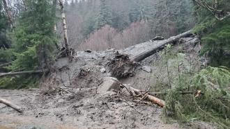 Damage from heavy rains and a mudslide 600 feet wide in Haines, Alaska