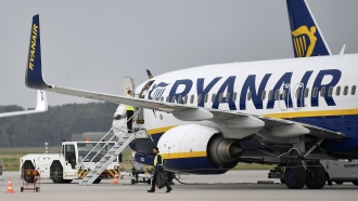 Ryanair plane parks at the airport in Weeze, Germany.