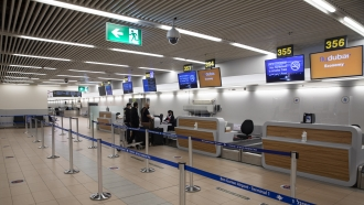 Israelis prepare to fly to Dubai at the Ben Gurion airport near Tel Aviv, Israel.
