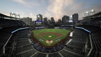 The Tampa Bay Rays and the New York Yankees play in Game 2 of a baseball AL Division Series
