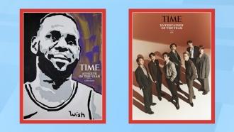 Los Angeles Lakers' LeBron James, left, Korean boy band group, BTS, right