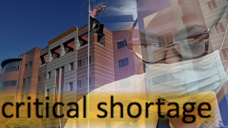 A photo illustration of nurse staffing challenges at veterans hospitals