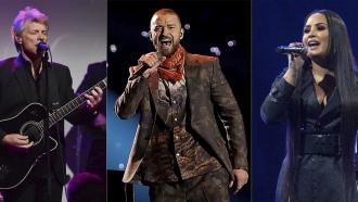 Jon Bon Jovi, Justin Timberlake and Demi Lovato.