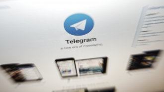 The interface of Telegram's messaging app is seen on a computer screen