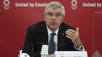 Thomas Bach, International Olympic Committee (IOC) President, speaks during the joint press conference.