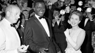 Actor Sidney Poitier appears at 1961 Cannes Film Festival.