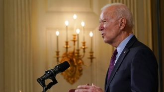 President Biden discusses the economy in a speech at the White House.