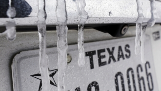 Icicles hang on the back of a vehicle
