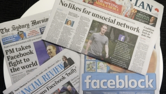 Front pages of australian newspapers show stories about Facebook on Friday, Feb. 19, 2021