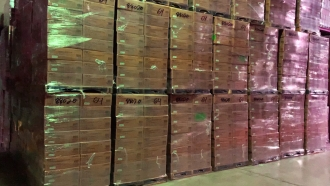 Boxes of N95 masks stacked in a Texas warehouse.