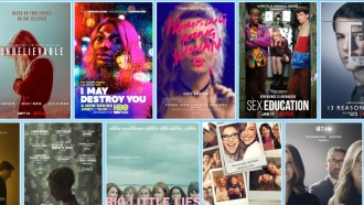 Posters for film and TV series that feature stories about sexual assault