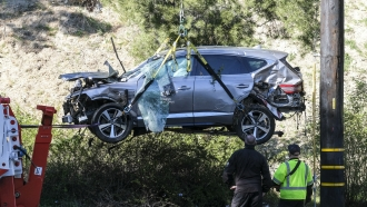 Tiger Woods' vehicle following a rollover accident.