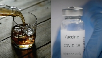 Alcoholic drinks next to vaccine bottle