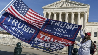 Kathy Kratt of Orlando, Fla., displays her Trump flags as she and other protesters demonstrate their support for President Do