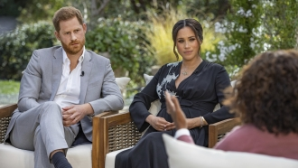 Prince Harry, from left, and Meghan, Duchess of Sussex, in conversation with Oprah Winfrey.