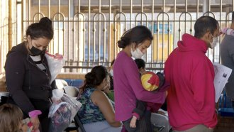 Migrants at a bus station in Brownsville, Texas