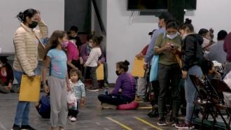 Migrants in a McAllen, Texas Relief Shelter