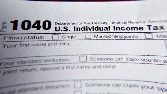A 1040 individual tax return form