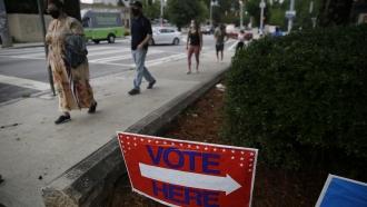 People waiting in line to vote in Atlanta.
