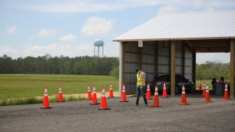 A nearly empty vaccination site in Chipley, Florida