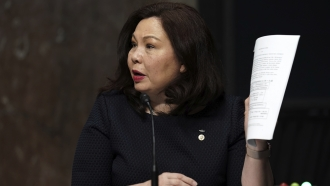 In this May 6, 2020, file photo, Sen. Tammy Duckworth, D-Ill., speaks during a hearing on Capitol Hill in Washington.